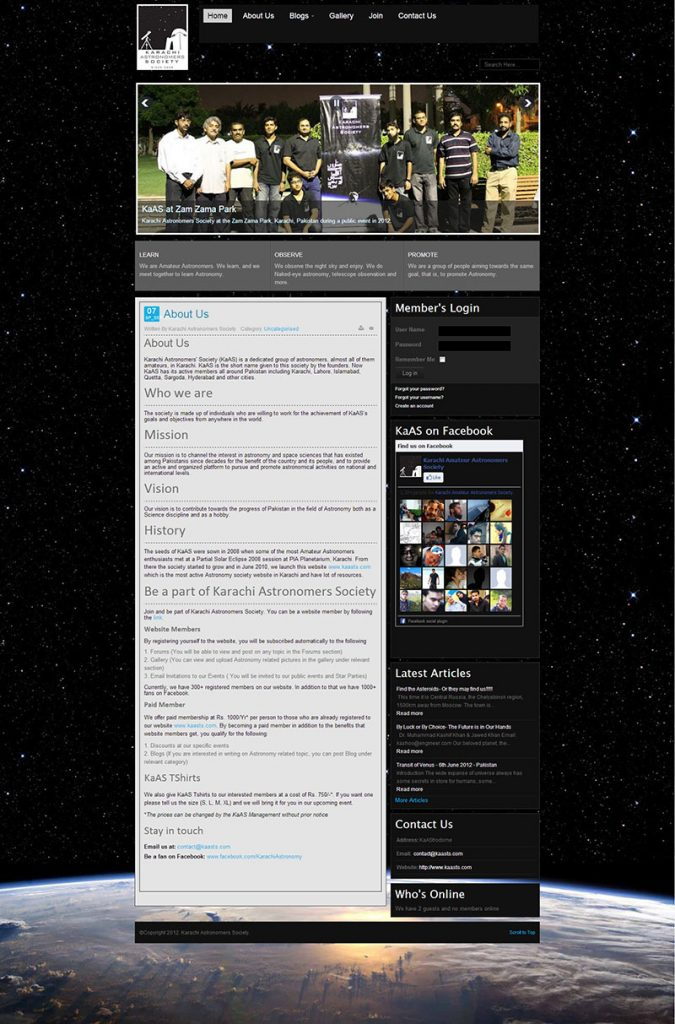 Developed and launched KAS first website – June 2010