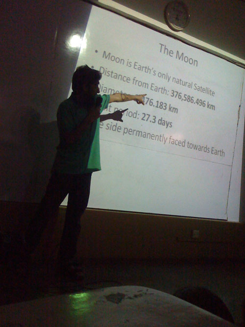 Organized and Conducted first ever school Astronomy session with Moon observation – April 2011