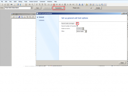 Turn on Code coverage option in Dynamics AX