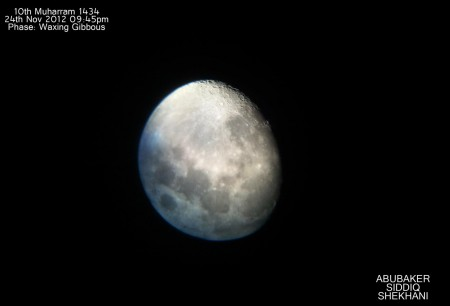 "10th of Muharram Moon captured using Meade 5"" reflector telescope and Samsung Galaxy S"