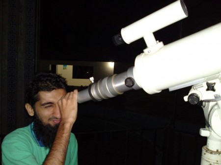 Abubaker viewing through PIA Planetarium Karachi Telescope