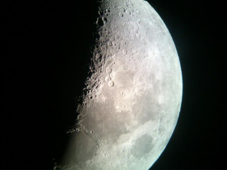 Moon captured using HTC phone camera and telescope
