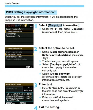 set copyright text in Canon