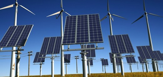 Solar panels and wind turbine.