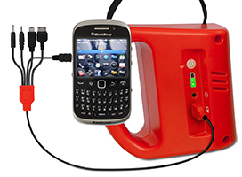 S 300 Solar powered light charging a smart phone battery