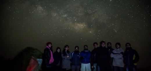 A group photo with Milky Way